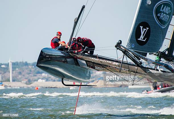 Team Land Rover BAR Britain skippered by Ben Ainslie competes in the first day of races of the 35th America's Cup World Series in Gothenburg western...