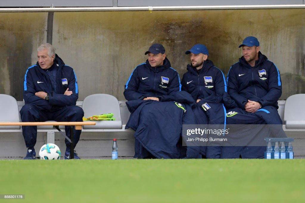 team leader Nello di Martino, goalkeepertrainer Zsolt Petry, assistant coach Admir Hamzagic and coach Pal Dardai of Hertha BSC during the test match between Hertha BSC and the Polizeiauswahl on october 6, 2017 in Berlin, Germany.