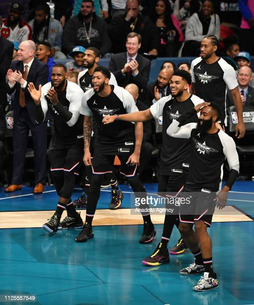 Team LeBron cheers during the Team LeBron vs Team Giannis at the 68th NBA Allstar 2019 at Spectrum Arena in Charlotte NC United States on February 17...