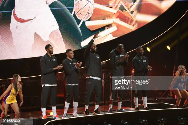 team LeBron is introduced during the NBA AllStar Game as a part of 2018 NBA AllStar Weekend at STAPLES Center on February 18 2018 in Los Angeles...