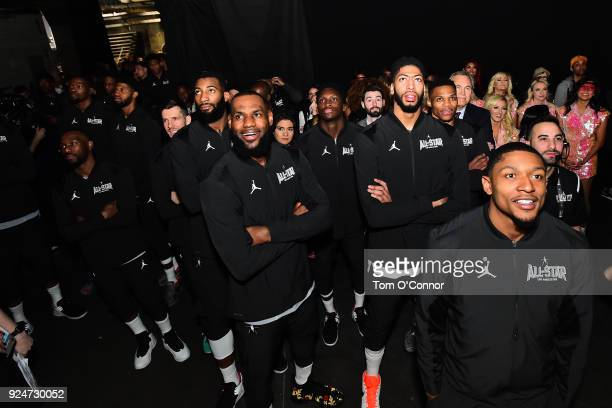 Team LeBron looks on during the NBA AllStar Game 2018 on February 18 2018 at the Staples Center in Los Angeles California NOTE TO USER User expressly...