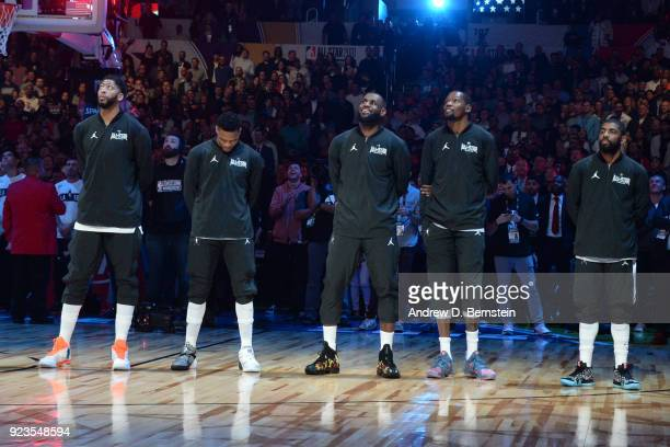 team LeBron looks on during the NBA AllStar Game as a part of 2018 NBA AllStar Weekend at STAPLES Center on February 18 2018 in Los Angeles...