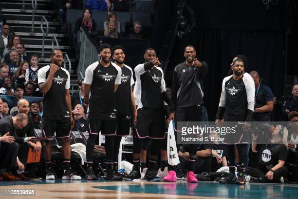 Team LeBron reacts during the 2019 NBA AllStar Game on February 17 2019 at the Spectrum Center in Charlotte North Carolina NOTE TO USER User...