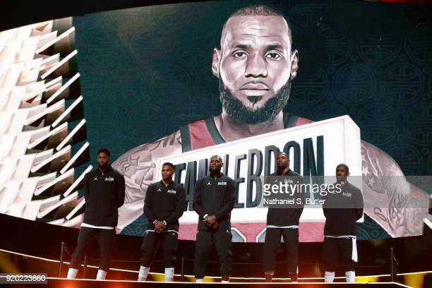 Team LeBron Starters are introduced before the NBA AllStar Game as a part of 2018 NBA AllStar Weekend at STAPLES Center on February 18 2018 in Los...