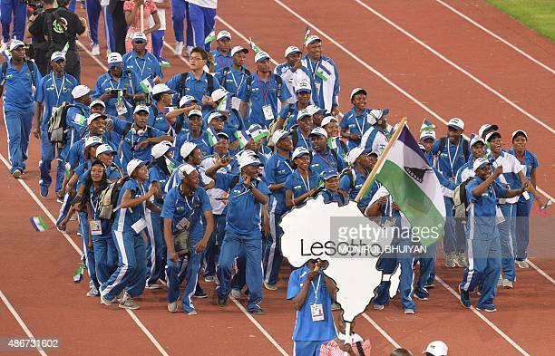 Team Lesotho parades during the opening ceremony of the 11th Africa Games at the New Kintele Stadium in Brazzaville on September 4 2015 AFP...