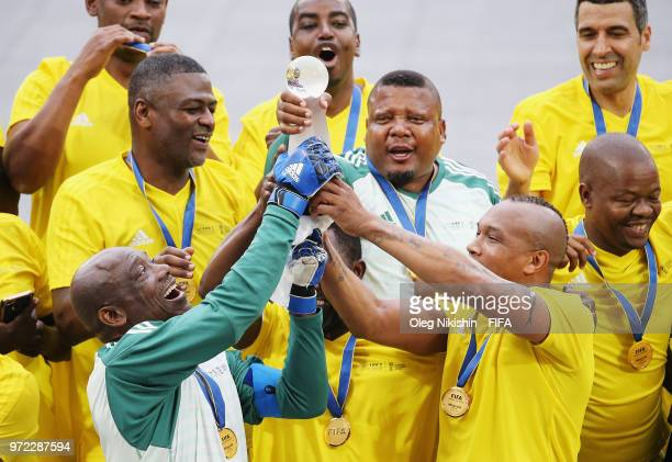 CAF team lift the trophy during the FIFA Congress Delegation Football Tournament at CSKA Arena during the on June 12 2018 in Moscow Russia