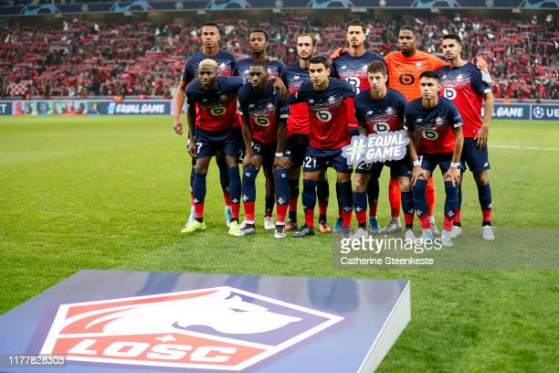 Team Lille OSC poses for a photo before the UEFA Champions League group H match between Lille OSC and Valencia CF at Stade Pierre Mauroy on October...