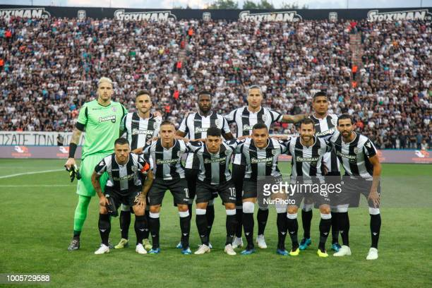 PAOK team line up before the Champions League second qualifying round first leg football match between PAOK FC and FC Basel at the Toumba stadium in...