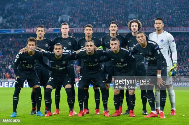 PSG team line up Marquinhos Julian Draxler Thiago Silva Edinson Cavani Adrien Rabiot and Alphonse Areola Neymar Jr Daniel Alves Layvin Kurzawa Marco...
