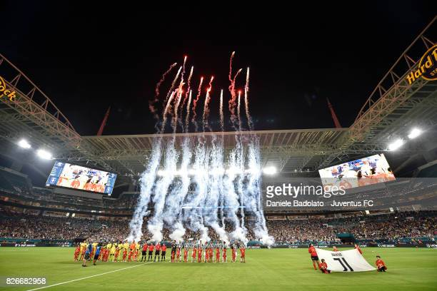 team lineups before the International Champions Cup 2017 match between Paris Saint Germain and Juventus at Hard Rock Stadium on July 26 2017 in Miami...