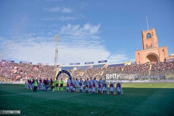team lineups during the Serie A match between Bologna FC and Juventus at Stadio Renato Dall'Ara on February 23 2019 in Bologna Italy