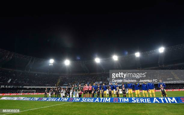 team lineups during the Serie A match between SSC Napoli and Juventus at Stadio San Paolo on December 1 2017 in Naples Italy