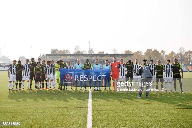 team lineups during the UEFA Youth League match between Juventus and Sporting CP at Juventus Center Vinovo on October 18 2017 in Vinovo Italy