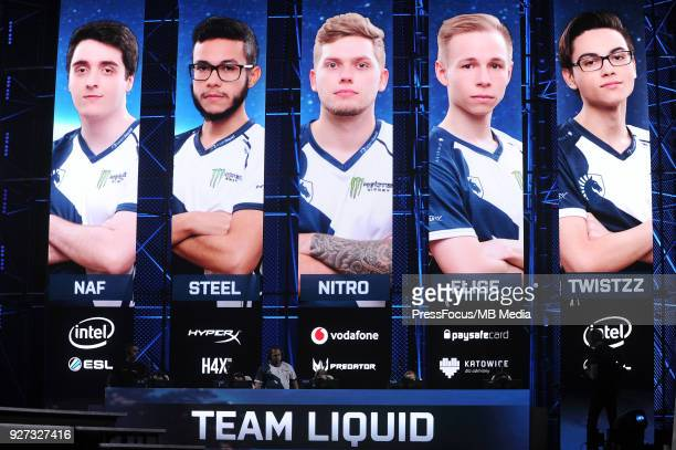 Team Liquid during CounterStrike Global Offensive quarterfinal game between Team Liquid and Ninjas in Pyjamas on March 2 2018 in Katowice Poland