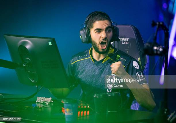 """Team Liquid's Adil """"ScreaM"""" Benrlitom reacts at the VALORANT Champions Tour 2021: VCT Masters Reykjavík on May 28, 2021 in Reykjavik, Iceland."""