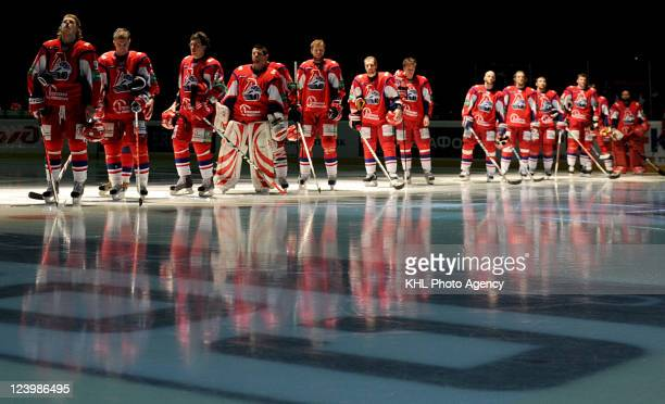 Team Lokomotiv Yaroslavl is seen before the game against Atlant on March 25 2011 at the Arena Lokomotiv in Yaroslavl Russia The members of the team...