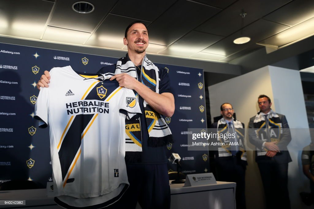 MLS team, Los Angeles Galaxy Introduce Sweden International Zlatan Ibrahimovic at the StubHub Center on March 30, 2018 in Carson, California.