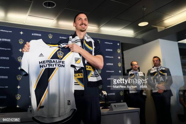 MLS team Los Angeles Galaxy Introduce Sweden International Zlatan Ibrahimovic at the StubHub Center on March 30 2018 in Carson California