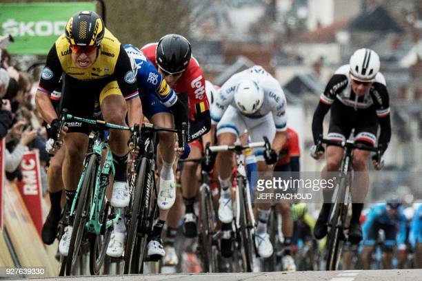 TOPSHOT Team Lotto NLJumbo Dutch cyclist Dylan Groenewegen sprints on his way to win the second stage of the Paris Nice cycling race between...