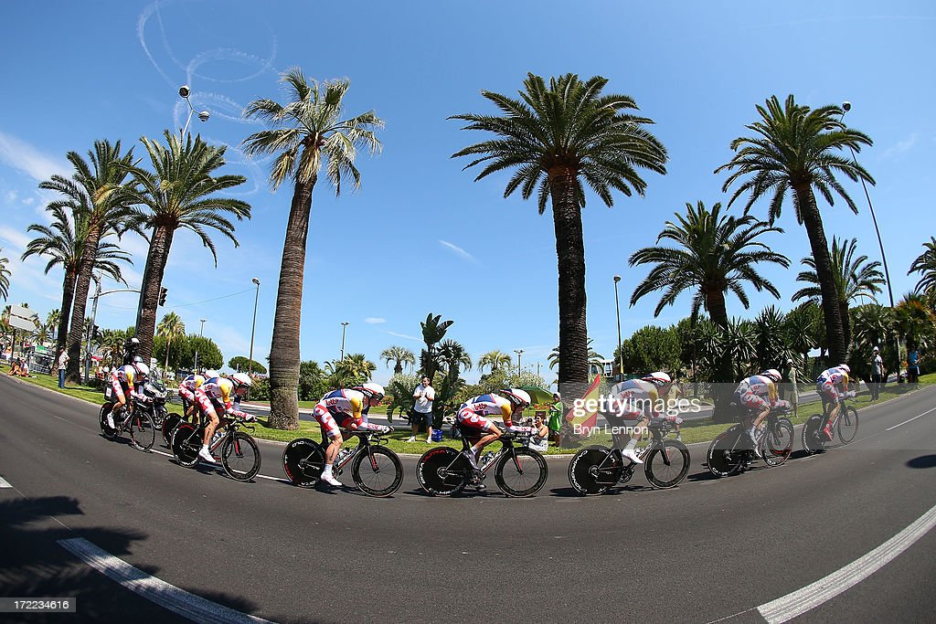 Team Lotto-Belisol in action during stage four of the 2013 Tour de France, a 25KM Team Time Trial on July 2, 2013 in Nice, France.