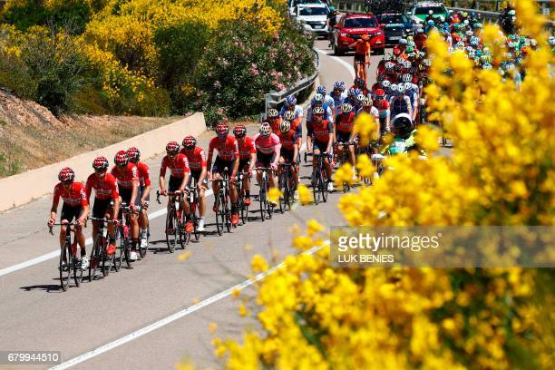 Team LottoSoudal leads the peloton during the third stage of the 100th Giro d'Italia Tour of Italy cycling race from Tortoli to Cagliari on May 7...