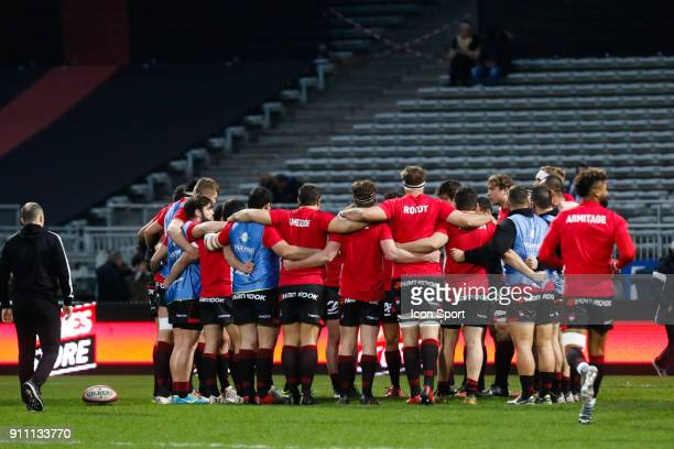 Team LOU during the Top 14 match between Lyon and Agen at Gerland Stadium on January 27 2018 in Lyon France