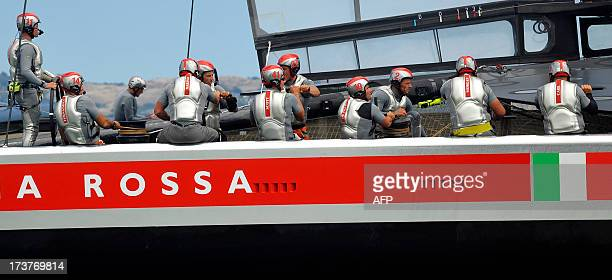 Team Luna Rossa Challenge sails their AC72 Racing Yacht in the bay during a training session for the America's Cup race in San Francisco California...