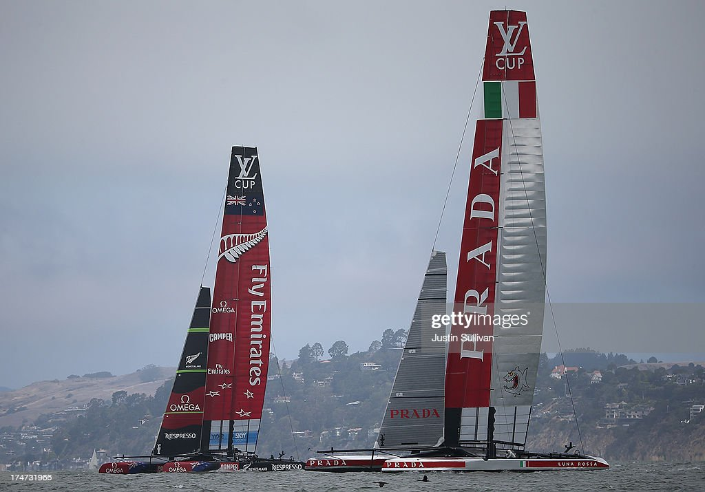 Team Luna Rossa Challenge (R) skippered by Massimiliano Sirena and Emirates Team New Zealand (L) skippered by Dean Barker practice before the start the Louis Vuitton Cup Round Robin 5 on July 28, 2013 in San Francisco, California. The winner of the Louis Vuitton Cup goes on to race against Oracle Team USA in the America's Cup Finals that start on September 7. Emirates Team New Zealand won the race.