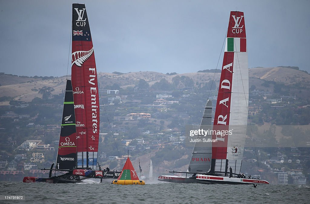 Team Luna Rossa Challenge (R) skippered by Massimiliano Sirena and Emirates Team New Zealand (L) skippered by Dean Barker prepare to start the Louis Vuitton Cup Round Robin 5 on July 28, 2013 in San Francisco, California. The winner of the Louis Vuitton Cup goes on to race against Oracle Team USA in the America's Cup Finals that start on September 7. Emirates Team New Zealand won the race.