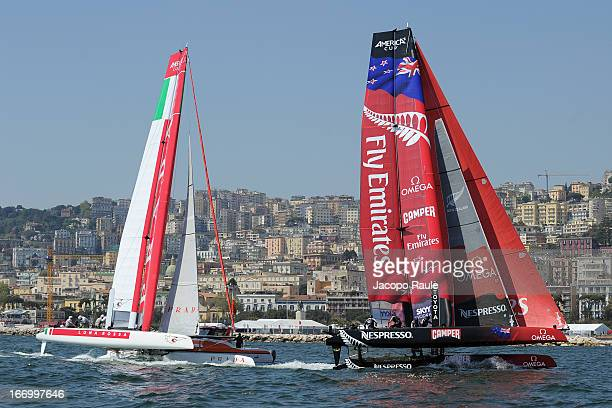 Team Luna Rossa Swordfish skippered by Francesco Bruni of Italy and Emirates Team New Zealand skippered by Dean Barker of New Zeland compete in...