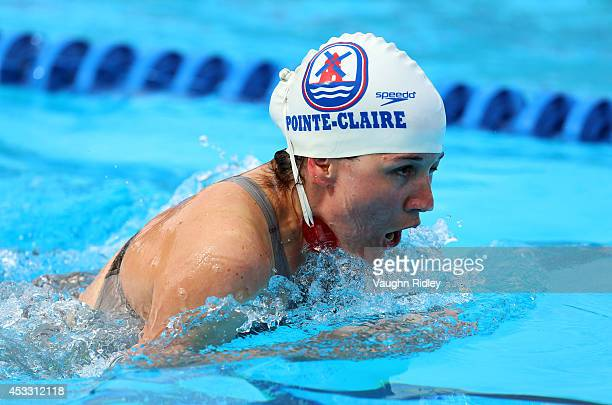 Team Maitres Pointclaire 44 of Canada competes in the Women's 4x50m Individual Medley Relay at Parc JeanDrapeau during the 15th FINA World Masters...