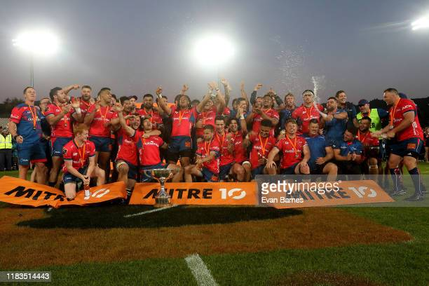 Team Mako Celebrate after winning the Mitre 10 Cup during the Mitre 10 Cup Premiership Final between Tasman and Wellington at Trafalgar Park on...