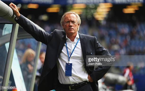 Team manager Bernd Wehmeyer of Hamburg is seen prior to the Bundesliga match between Hamburger SV and 1 FC Nuernberg at Imtech Arena on August 25...