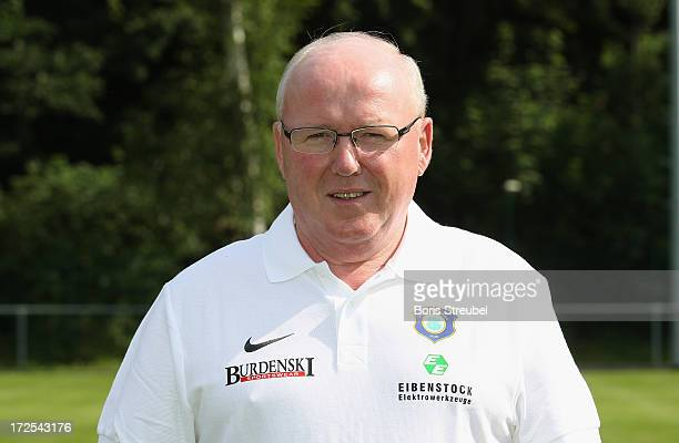 Team manager Bernd Zimmermann of Aue poses during the Second Bundesliga team presentation of Erzgebirge Aue on June 2 2013 in Aue Germany