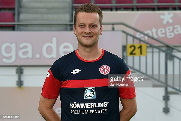 Team manager Darius Salbert poses during the official team presentation of 1 FSV Mainz 05 II at Bruchweg Stadium on July 15 2015 in Mainz Germany