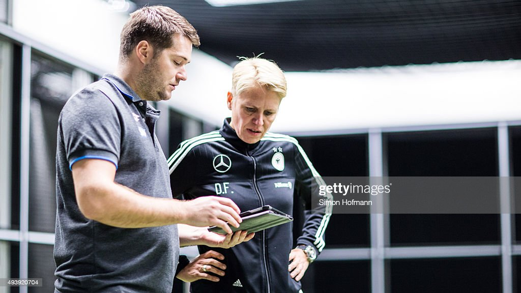 Team manager Doris Fitschen (R) attends a Germany Women's Footbonaut Training Session at on October 23, 2015 in Zuzenhausen, Germany.