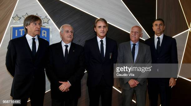 Team manager Gabriele Oriali FIGC Commissioner Massimo Fabbricini head coach Italy Roberto Mancini FIGC Vice Commissioner Angelo Clarizia and FIGC...