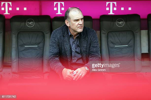 Team manager Joerg Schmadtke of Koeln looks on prior to the Bundesliga match between Bayern Muenchen and 1 FC Koeln at Allianz Arena on October 1...