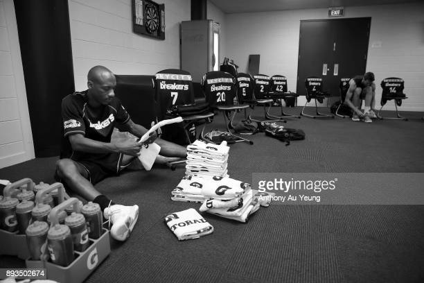 Team Manager Justin Bailey of the Breakers prepares for the team in the dressing room prior to the round 10 NBL match between the New Zealand...
