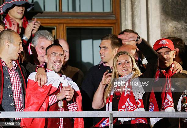 Team manager Kathleen Krueger of Bayern Muenchen celebrates with team mates the German championship title on the town hall balcony at Marienplatz at...