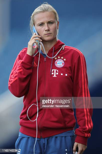 Team manager Kathleen Krueger of FC Bayern Muenchen looks on during a training session at Children`s Mercy Park during the eight day of the FC Bayern...