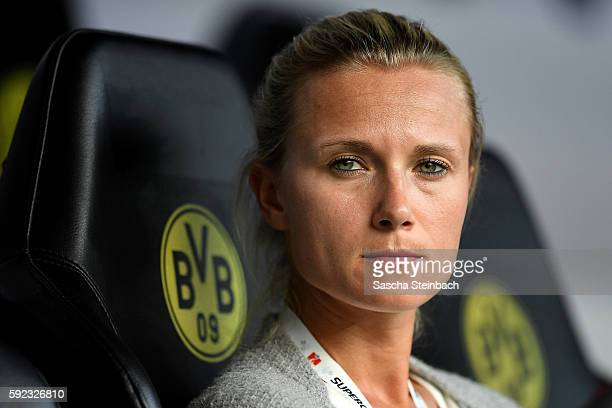 Team manager Kathleen Krueger of Muenchen looks on prior to the DFL Supercup 2016 match between Borussia Dortmund and FC Bayern Muenchen at Signal...