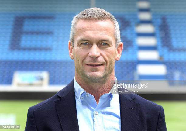Team manager Mario Kallnik poses during the team presentation of 1 FC Magdeburg at MDCCArena on July 13 2017 in Magdeburg Germany