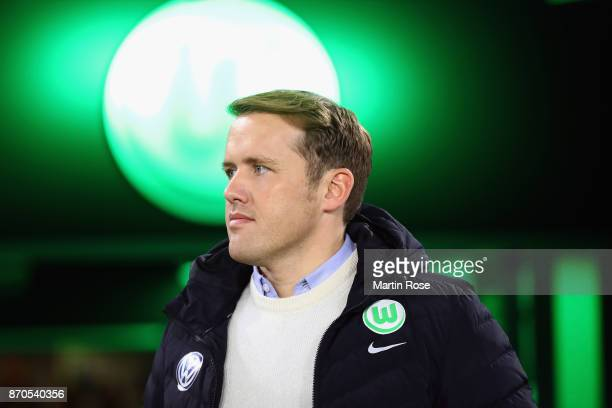 Team manager Olaf Rebbe of Wolfsburg looks on prior to the Bundesliga match between VfL Wolfsburg and Hertha BSC at Volkswagen Arena on November 5...