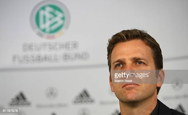 Team manager Oliver Bierhoff attends the German National Team press conference at the Beiersdorf Center on October 12, 2009 in Hamburg, Germany.