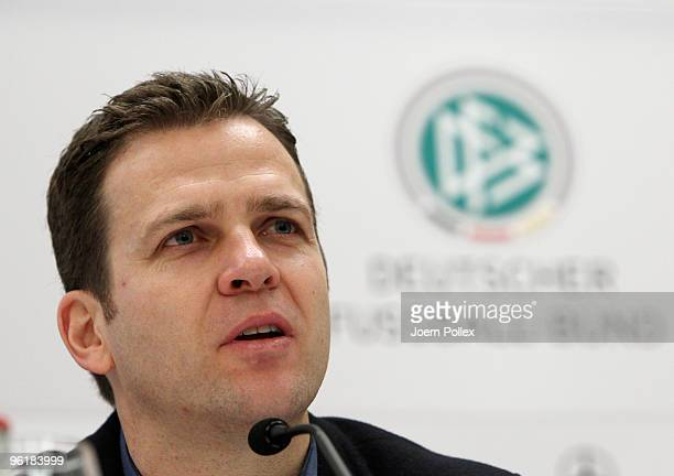 Team manager Oliver Bierhoff of German football association speaks to the media during a DFB press conference at the Le Meridien Hotel on January 26...
