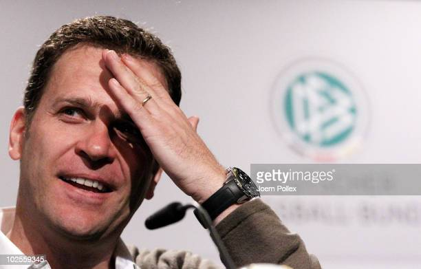 Team manager Oliver Bierhoff of Germany gestures during a press conference in the media center at Velmore Grande Hotel on July 1 2010 in Pretoria...