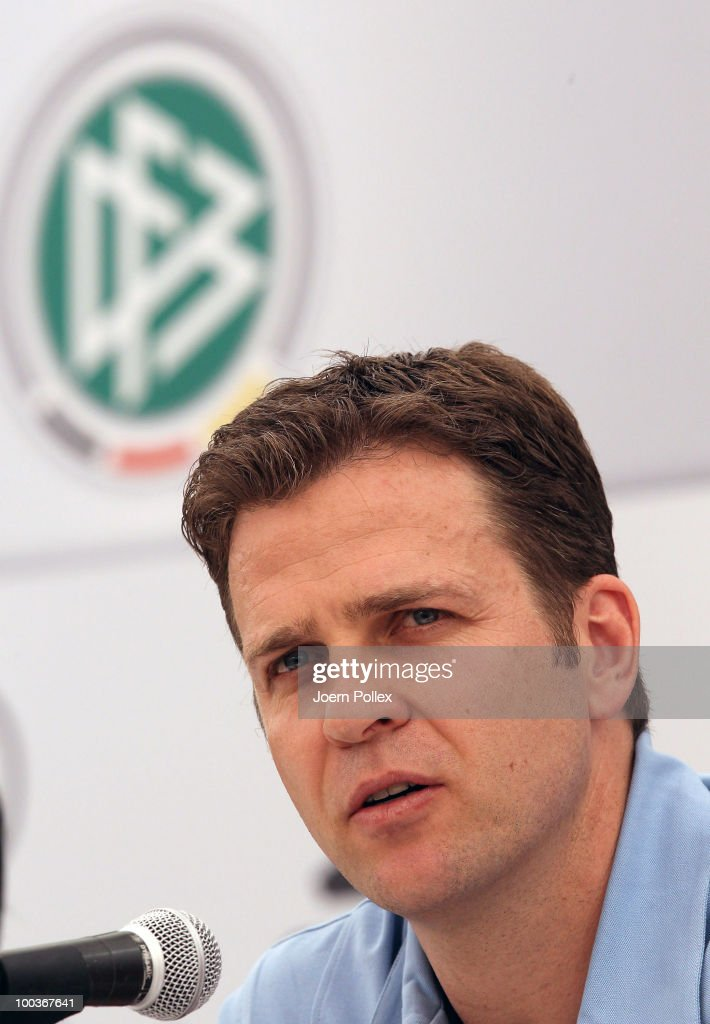 Team manager Oliver Bierhoff of Germany speaks to the media during a press conference at Sportzone Rungg on May 24, 2010 in Appiano sulla Strada del Vino, Italy.
