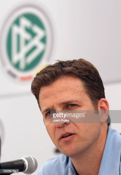 Team manager Oliver Bierhoff of Germany speaks to the media during a press conference at Sportzone Rungg on May 24 2010 in Appiano sulla Strada del...