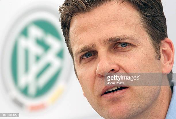 Team manager Oliver Bierhoff of Germany speaks to the media during a press conference at Sportzone Rungg on June 01 2010 in Appiano sulla Strada del...